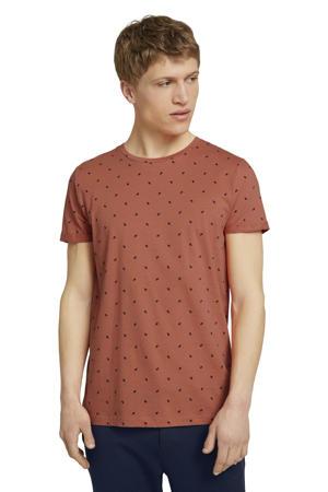 T-shirt met all over print oranje