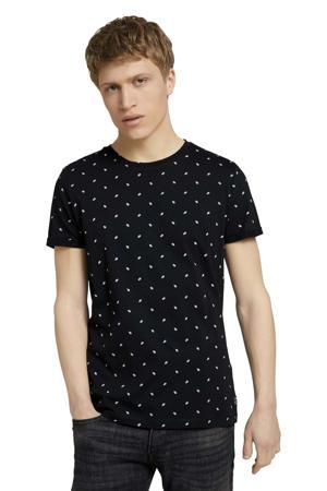 T-shirt met all over print zwart