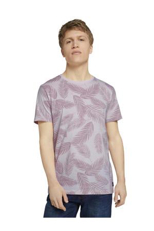 T-shirt met bladprint lila