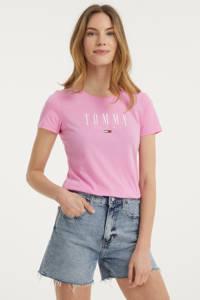 Tommy Jeans T-shirt met biologisch katoen roze/wit, Roze/wit