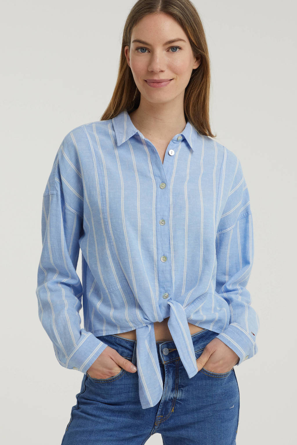 Tommy Jeans gestreepte blouse lichtblauw, Lichtblauw