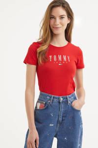 Tommy Jeans T-shirt met biologisch katoen rood, Rood