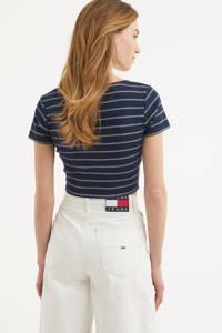 Tommy Jeans gestreepte overslag top met biologisch katoen marine, Marine