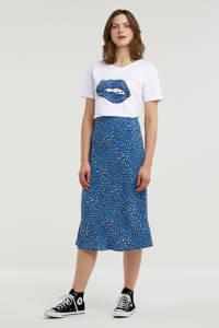 Tommy Jeans rok met dierenprint lichtblauw/wit/zwart, Blauw