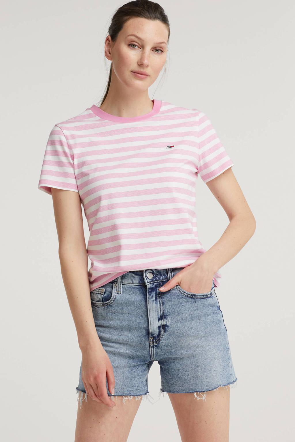 Tommy Jeans gestreept T-shirt van biologisch katoen marine/wit, Roze/wit