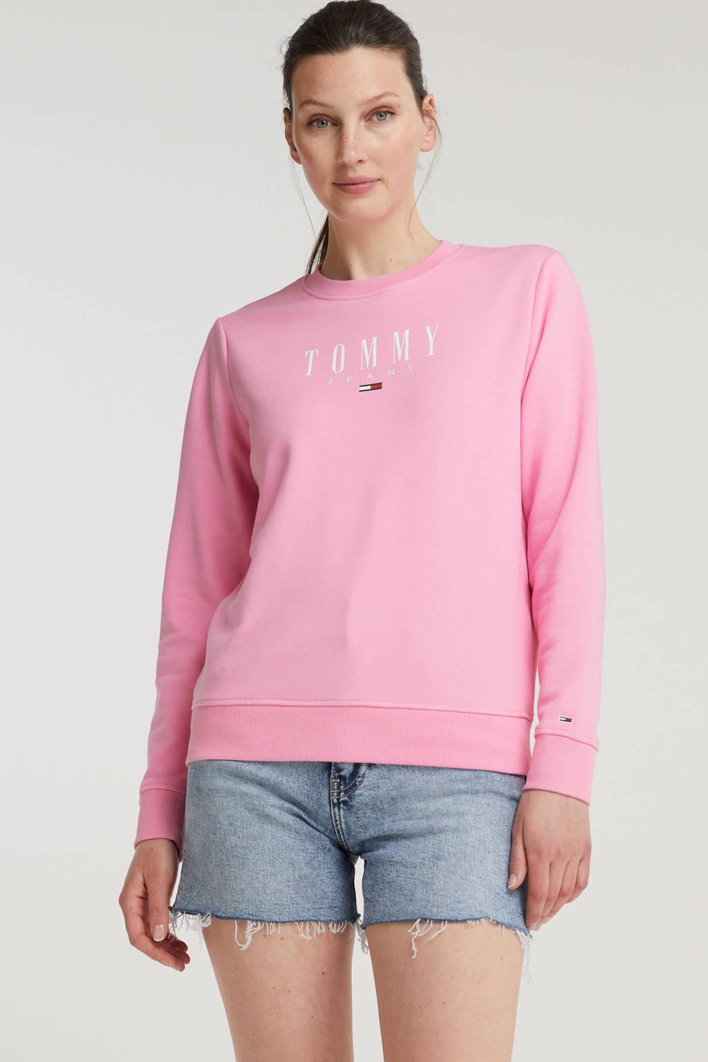 Tommy Jeans sweater van biologisch katoen donkerblauw/wit, Roze