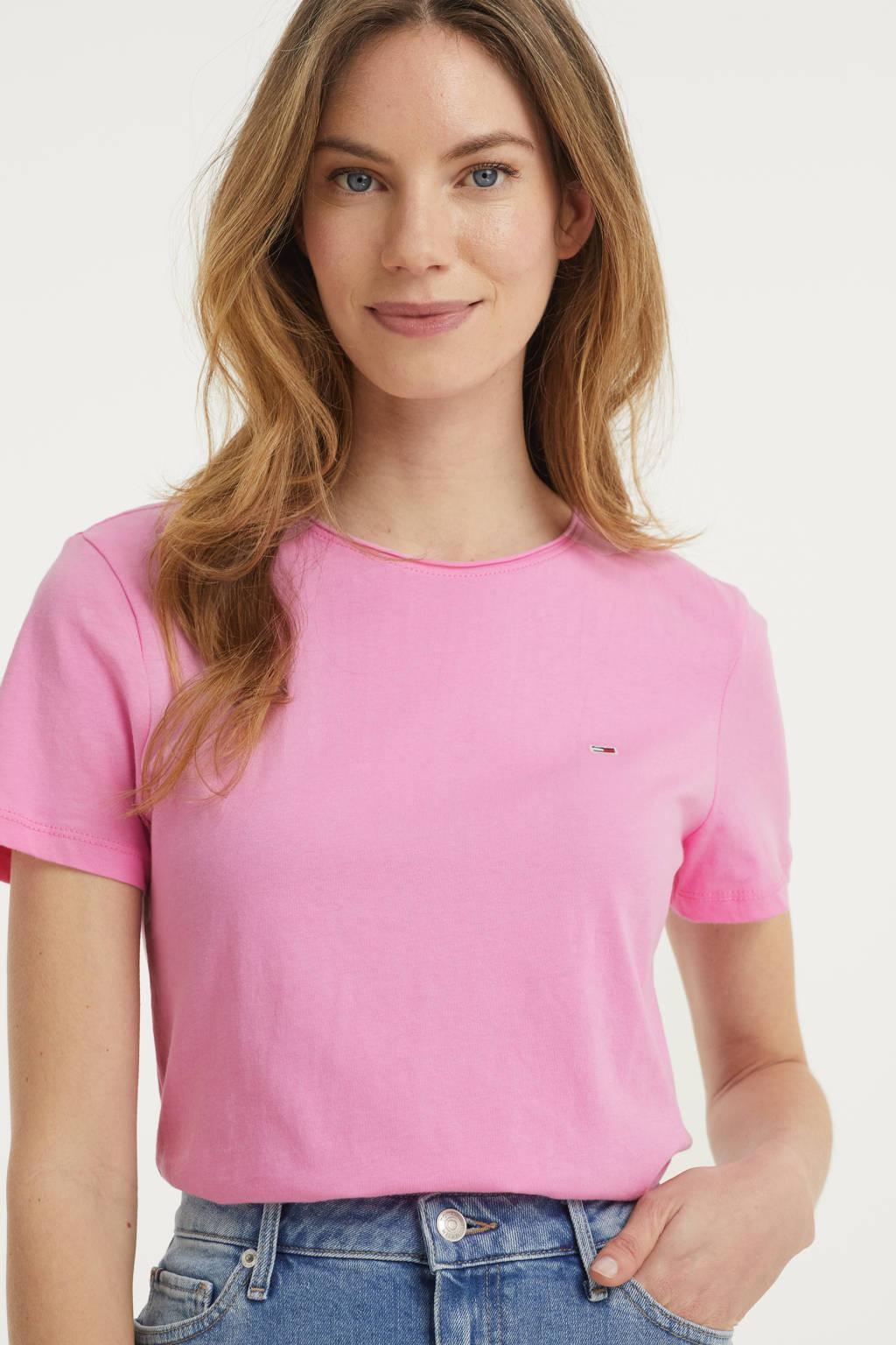 Tommy Jeans T-shirt van biologisch katoen rood, Roze