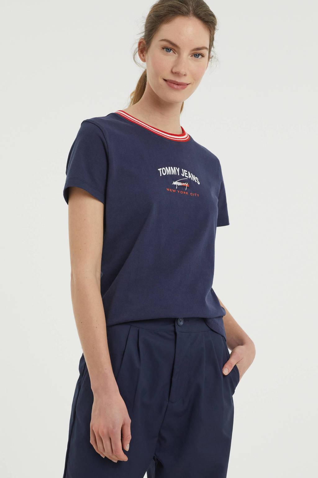 Tommy Jeans T-shirt van biologisch katoen marine, Marine