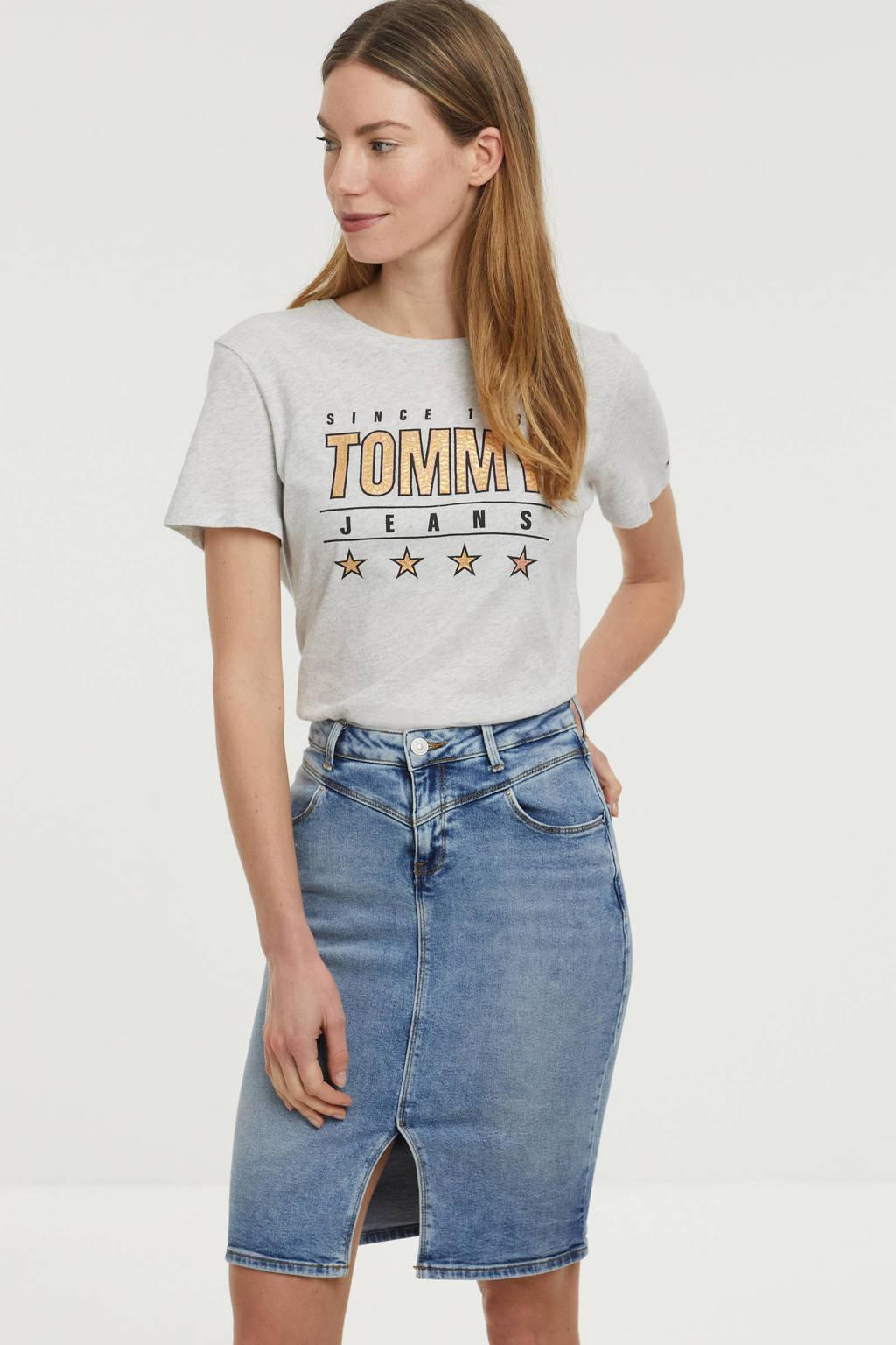 Tommy Jeans T-shirt van biologisch katoen lichtgrijs melange, Lichtgrijs melange