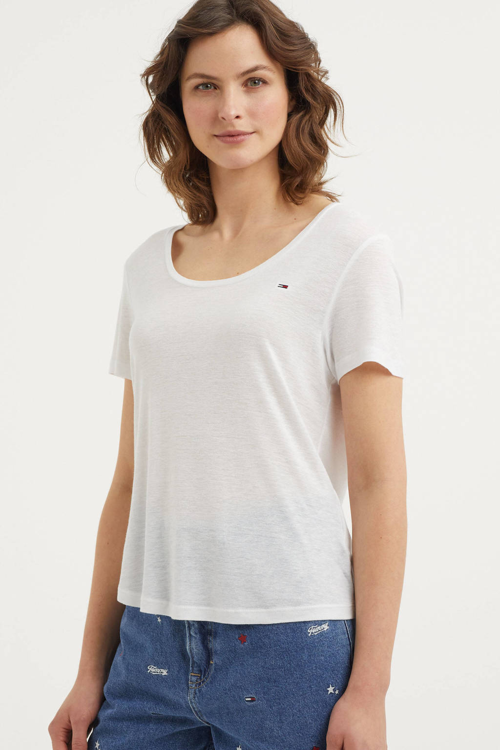 Tommy Jeans T-shirt ecru, Ecru