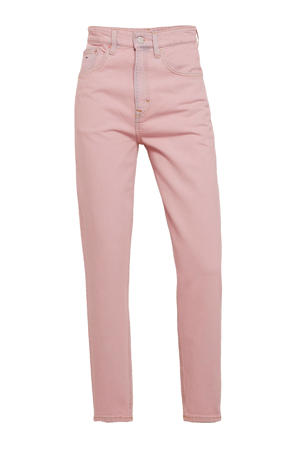 high waist straight fit jeans roze