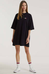 Tommy Jeans T-shirtjurk van biologisch katoen zwart, Zwart
