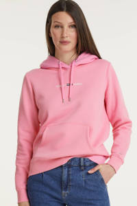 Tommy Jeans hoodie met biologisch katoen wine red, Roze