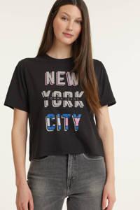 Tommy Jeans T-shirt met tekst zwart, Zwart