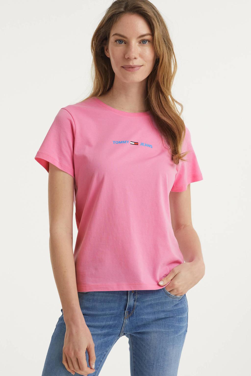 Tommy Jeans T-shirt met biologisch katoen roze, Roze