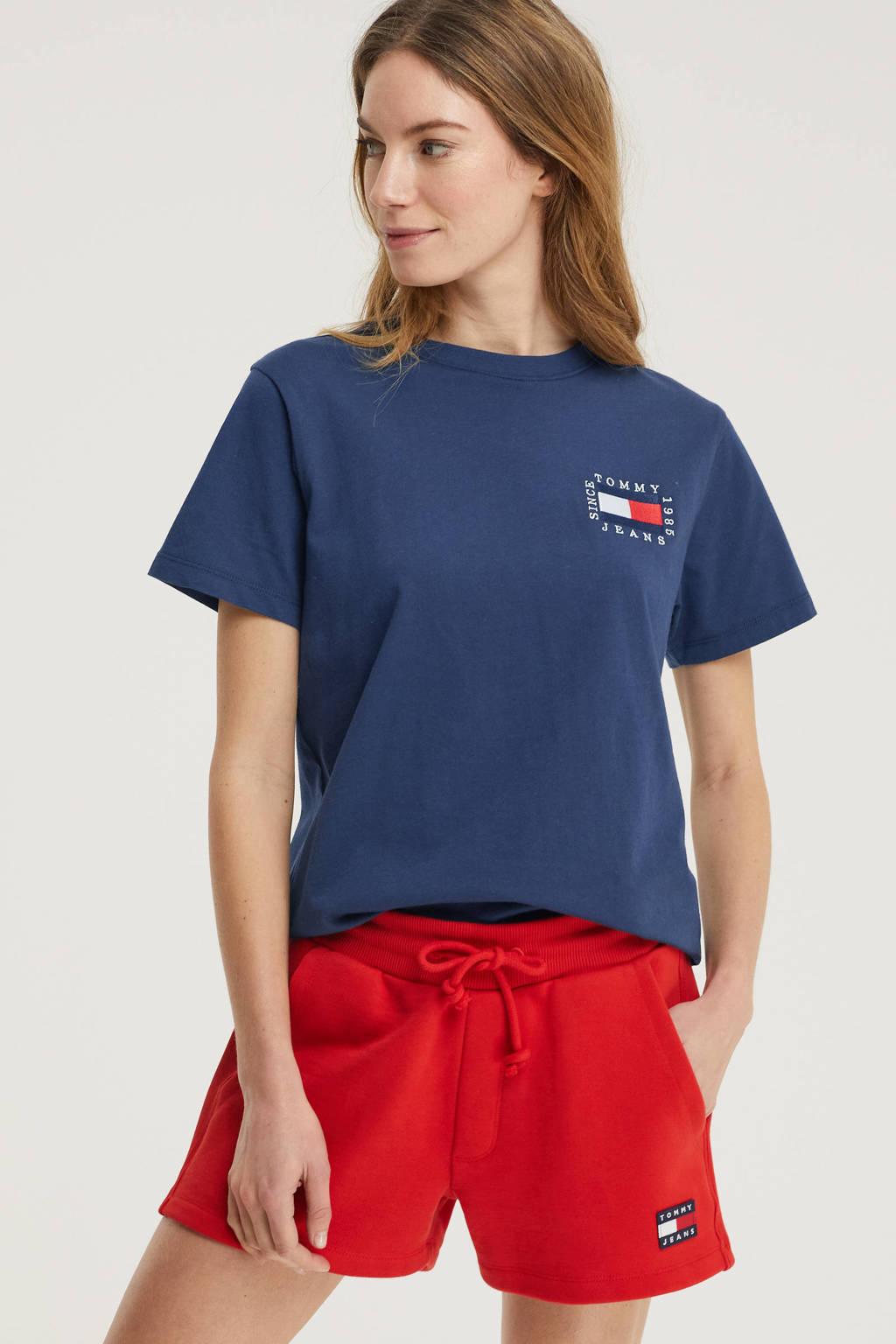 Tommy Jeans sweatshort van biologisch katoen rood, Rood