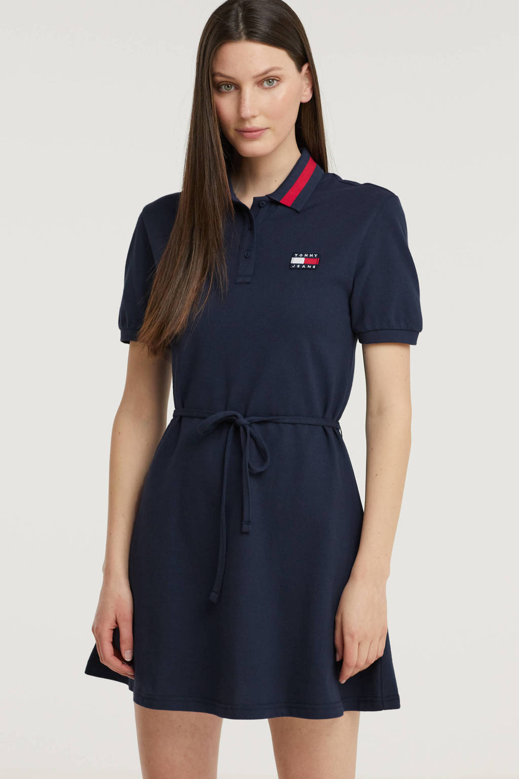 Tommy Jeans A-lijn jurk van biologisch katoen donkerblauw/rood/wit, Donkerblauw/rood/wit