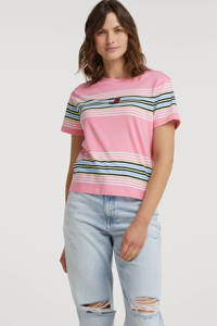 Tommy Jeans gestreept T-shirt van biologisch katoen roze, Roze