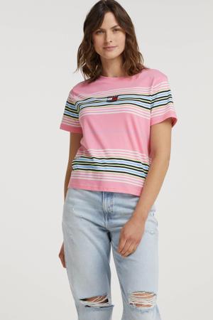 gestreept T-shirt van biologisch katoen roze