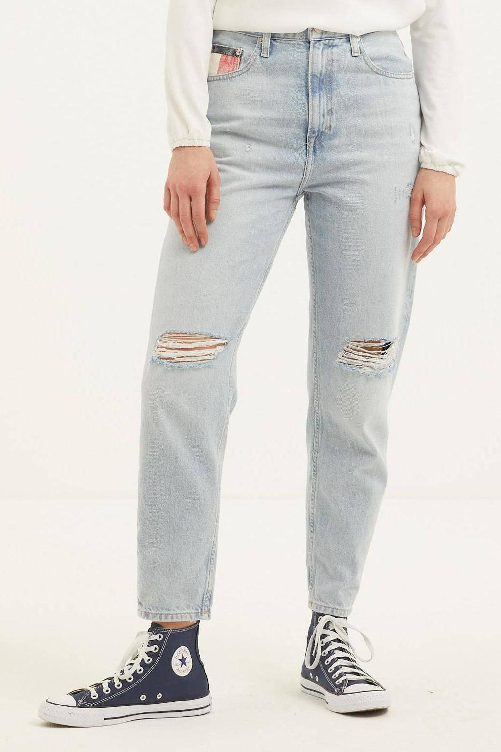 Tommy Jeans high waist mom jeans met logo light denim, Light denim