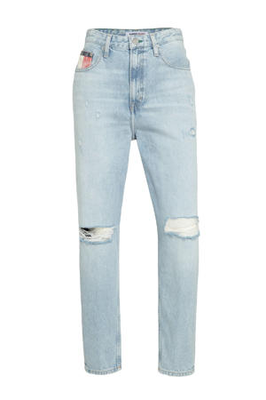 high waist mom jeans met logo light denim
