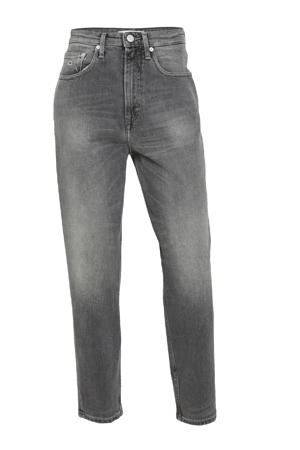high waist mom jeans MOM ULTRA HIGH RISE TAPERED FADED JEANS tova grey com