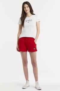 Tommy Jeans T-shirt met biologisch katoen wit/donkerblauw/rood, Wit/donkerblauw/rood