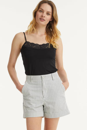 gestreepte high waist short HARPER wit/navy