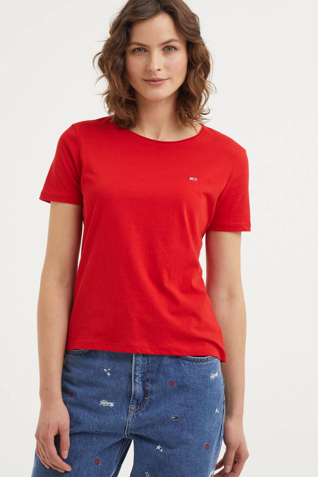 Tommy Jeans T-shirt van biologisch katoen rood, Rood