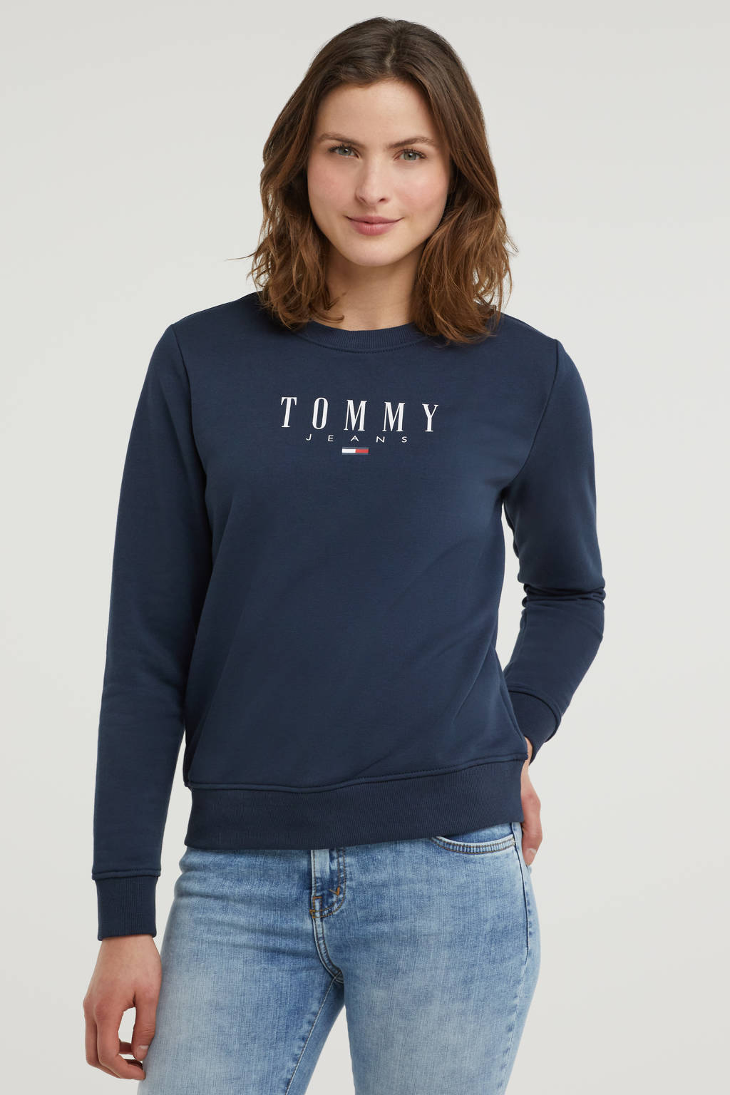 Tommy Jeans sweater van biologisch katoen donkerblauw/wit, Donkerblauw/wit