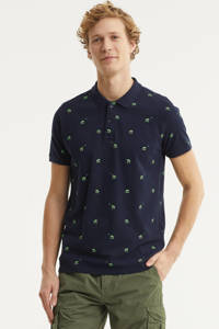 Petrol Industries slim fit polo met all over print donkerblauw, Donkerblauw