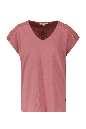 T-shirt met open detail oudroze