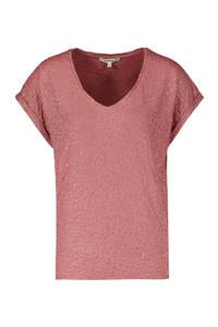 Garcia T-shirt met panterprint en glitters oudroze, Oudroze