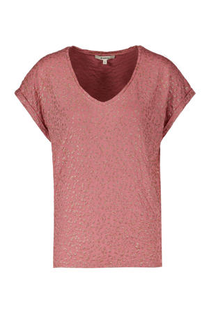 T-shirt met panterprint en glitters oudroze
