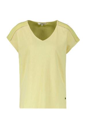T-shirt met open detail geel
