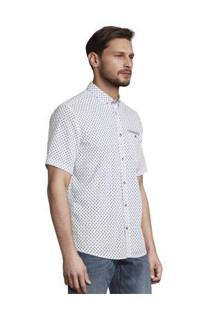 T-shirt met all over print wit/blauw