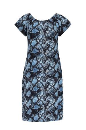 off shoulder jurk May met slangenprint blauw/zwart