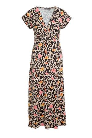 maxi jurk Jane met all over print en plooien zand/zwart/ecru/lichtroze/geel/oranje
