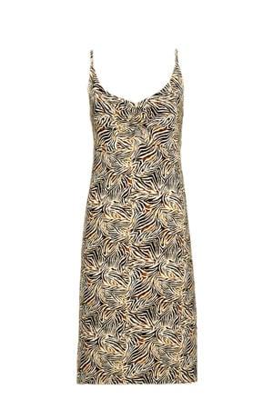 jurk met zebraprint bruin/zwart/ecru