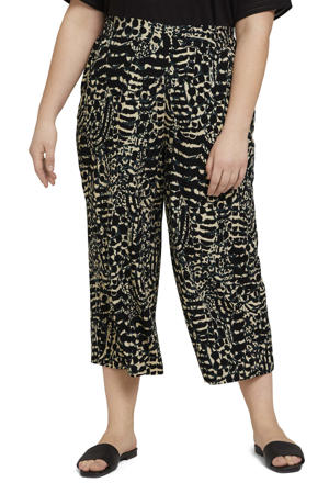 cropped straight fit culotte met all over print zwart/petrol/lichtgeel