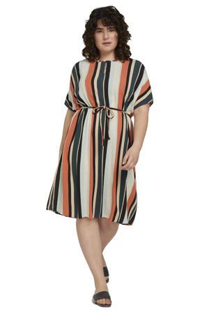 gestreepte jurk roodbruin/petrol/ecru