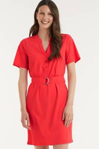 Esqualo jurk met ceintuur rood, Rood