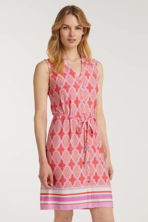 jurk met all over print en ceintuur roze