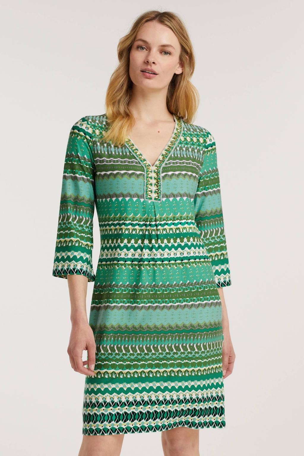Esqualo jurk met all over print groen, Groen