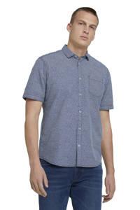 Tom Tailor regular fit overhemd met all over print donkerblauw, Donkerblauw