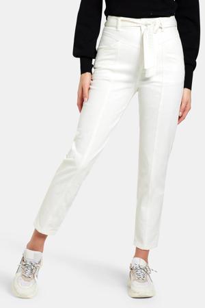 high waist tapered fit broek Tess ecru
