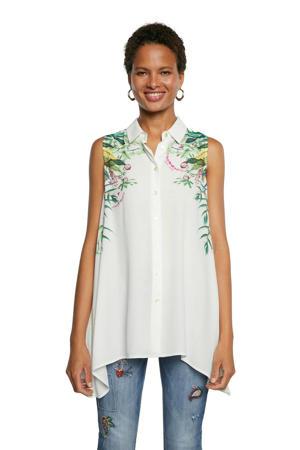 blouse met printopdruk wit/groen