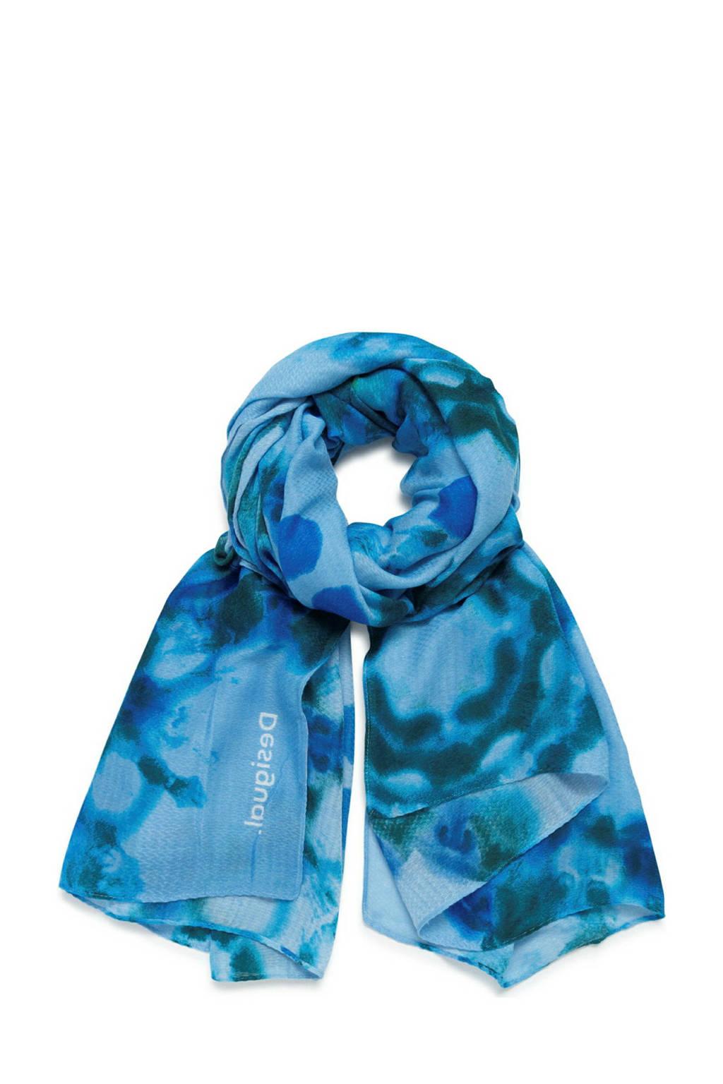 Desigual sjaal met all-over print blauw, Blauw