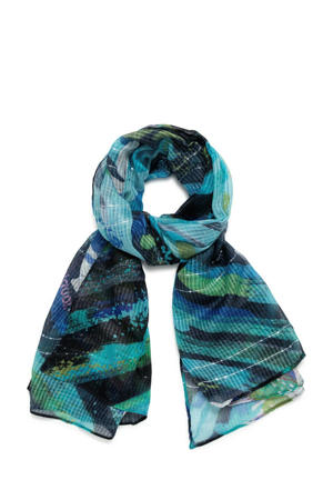 sjaal met all-over print turquoise