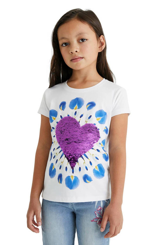 Desigual T-shirt met print en reversible pailletten wit, Wit